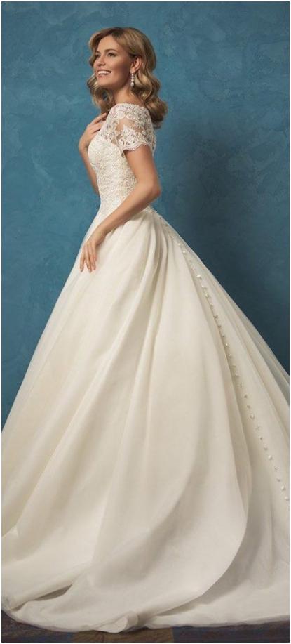 مدل لباس عروس آستین کوتاه