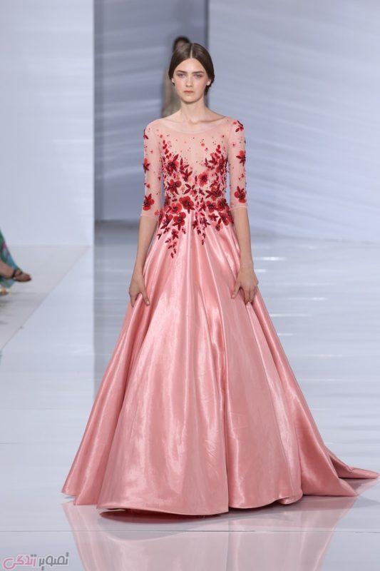مدل لباس شب مجلسی صورتی با طرح ساتن