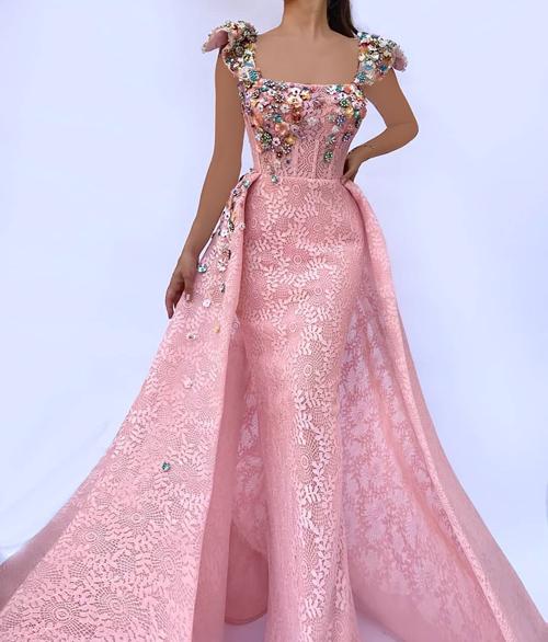 مدل لباس شب مجلسی صورتی