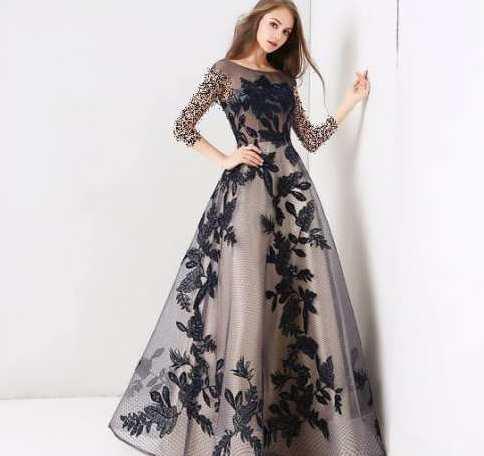 لباس مجلسی دخترانه با طرح تور گلدار