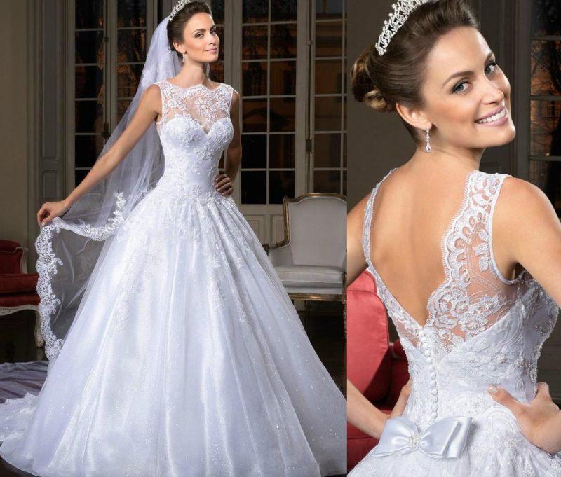 لباس عروس با تور بلند