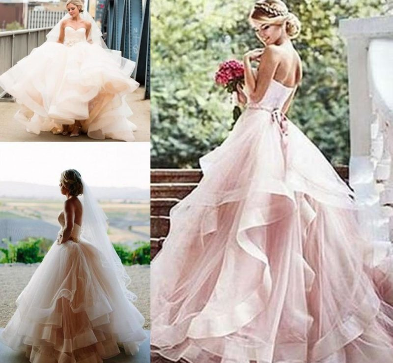 مدل لباس عروس چسن دار رنگی