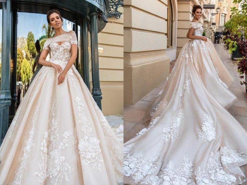مدل لباس عروس کرم و دنباله دار