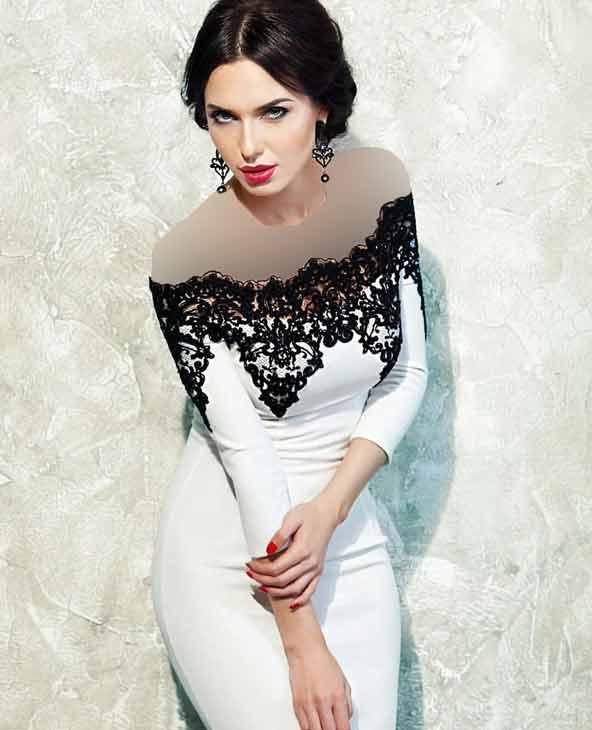 لباس مجلسی بالاتنه گیپور سفید مشکی ۲۰۱۹