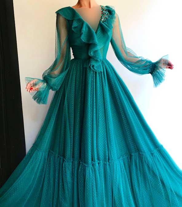 لباس مجلسی زنانه یقه کلوش جدید